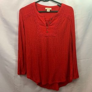 Lucky Brand Size M Red Long Sleeve Top